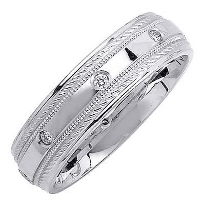 New Mens 14k White Gold Diamond Wedding Ring Band 2161